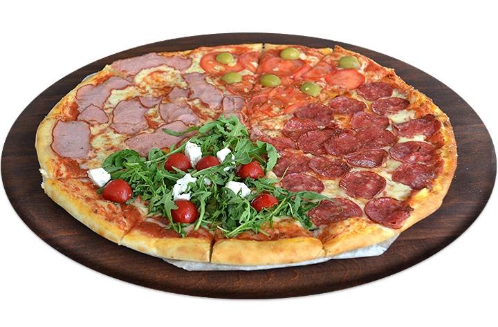 Заказать доставка пицца с колбасой Четыре времени года в Буча, Ирпень, Гостомель, Ворзель